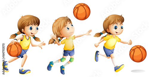 Foto op Canvas Kids Girl playing different sports
