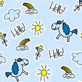 Kids cute seamless pattern with pony, rainbow and Hello word. Blue colors. For decoration paper and textiles. Vector illustration.