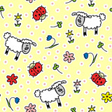 Kids cute seamless pattern with lambs, flowers and ladybugs. For decoration paper and textiles. Vector illustration.