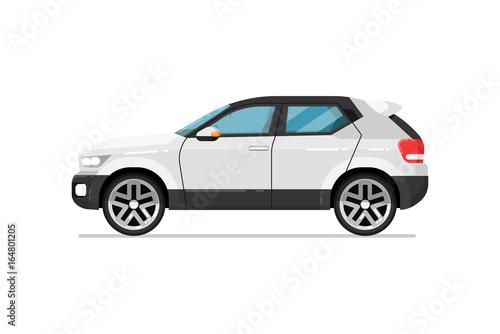 Ikona samochodu nowoczesne suv. Wygodny auto pojazd, bocznego widoku transportu drogowego ludzie odizolowywali wektorową ilustrację na białym tle.