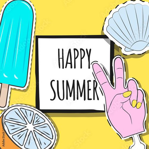Foto op Aluminium Retro sign happy summer