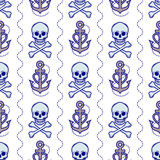 Skull and anchor seamless background, vector illustration.