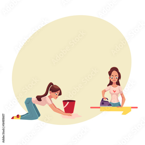 Pretty young woman, housewife doing housework - ironing, washing the floor, cartoon vector illustration with space for text. Beautiful woman, girl washing floor, ironing, cleaning her house