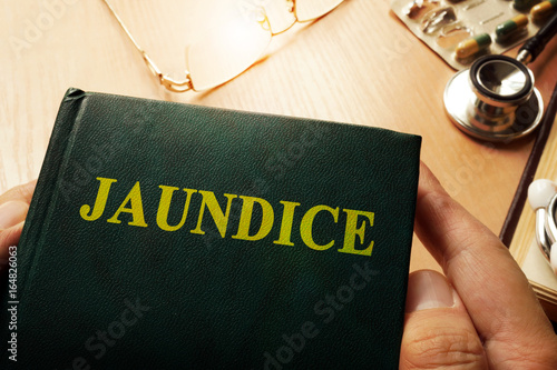 Book with name Jaundice on a table.