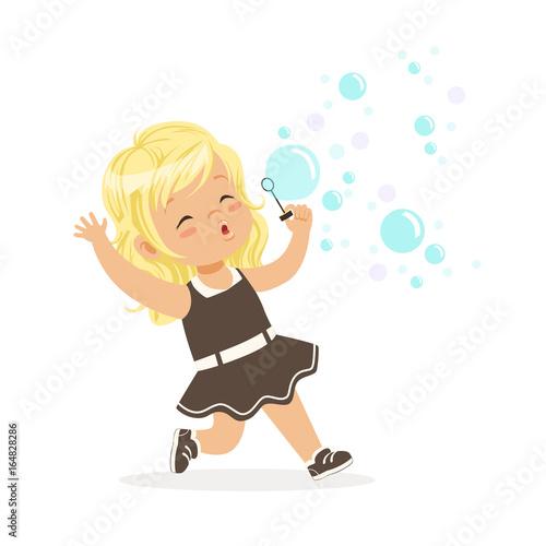 Cute blonde little girl blowing bubbles vector Illustration