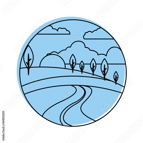 beautiful forest landscape icon vector illustration design