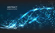 Vector abstract blue motion light effect background. Composition blurry particles and has bright lights.