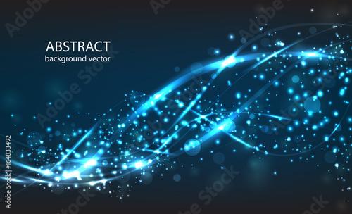 Wektorowy abstrakcjonistyczny błękitny ruchu lekkiego skutka tło. Skład rozmyte cząstki i ma jasne światła.