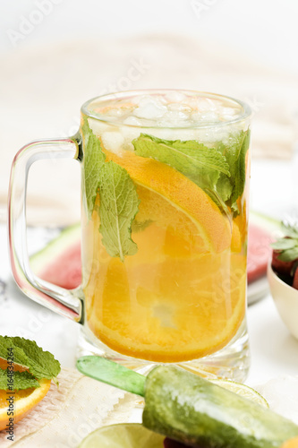 refreshing homemade drink and natural ice pops