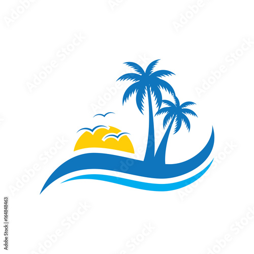 Palm tree wave travel logo vector image