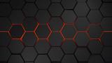 Fototapety grey and orange hexagons modern background illustration