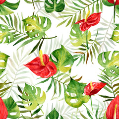 Seamless pattern with watercolor tropical flowers and leaves on striped background. Illustration can be used for gift wrapping, background of web pages, as a print for any printing products.
