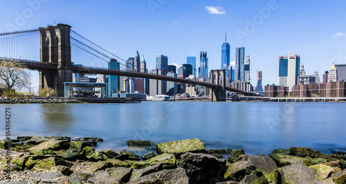 Brooklyn Bridge and New York Skyline from DUMBO, Manhatten, New York, USA