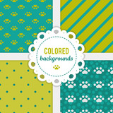 Set of vector seamless backgrounds for decoration. Multicolored patterns.