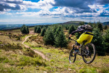 Mountain Biking in Wales - rider speeds down steep flowing trail with river Severn in the background. Cwmcarn, Wales. - 164872816