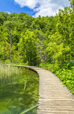 Wooden path on Plitvice lakes - 164874491