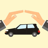 Concept of insurance and protection, security. Hands of agent protect car. Flat vector illustration.