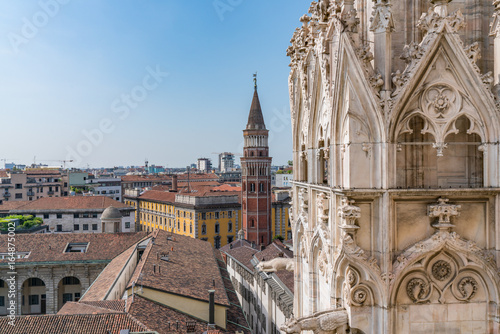 Foto op Canvas Milan Milan Skyline from Milan Cathedral