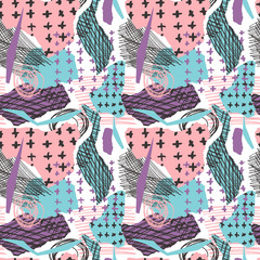 Vector colorful seamless pattern with brush strokes and cross. Pink blue violet black color on white background. Hand painted grange texture. Ink geometric elements. Fashion school modern style