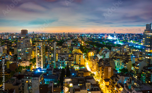 Foto op Plexiglas Buenos Aires Panoramic view of Buenos Aires at night