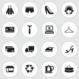 Set Of 16 Editable Shopping Icons. Includes Symbols Such As Reticule, Hanger, Credit Card And More. Can Be Used For Web, Mobile, UI And Infographic Design.