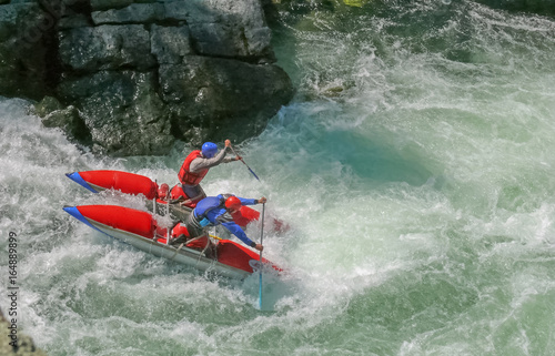Extreme rafting, Altai, Chuya river, Altai. Surmounting obstacle