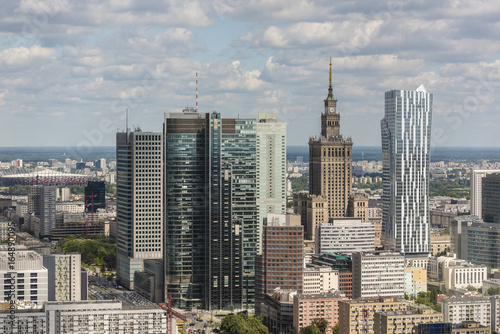 Warsaw city downtown panorama - 164890095