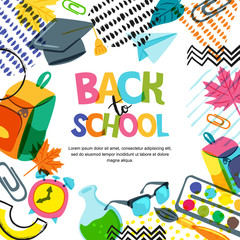 Vector back to school banner, poster background. Hand drawn lettering and doodle color school supplies on white background. Education concept.