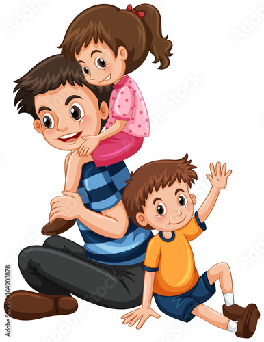 Father with daughter and son