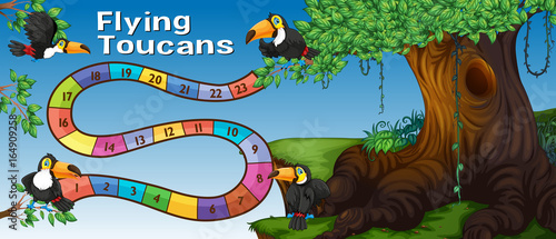 Foto op Canvas Kids Boardgame template with toucan birds in forest