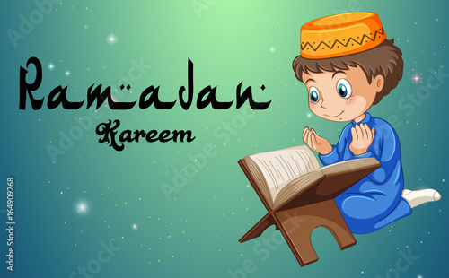 Staande foto Kids Muslim boy reading bible