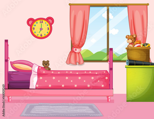 Bedroom with pink bed and curtain
