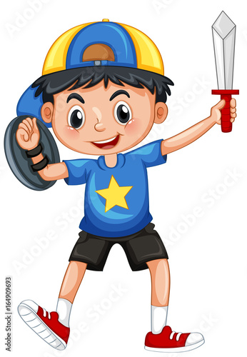 Little boy with armour and sword