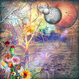 Dreams landscape with enchanted ad colorfull flowers - 164909832