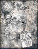 Mysterious murals,graffiti,collage and street art with skull and weapons - 164909864