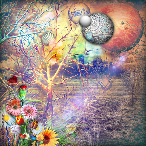 Dreams landscape with enchanted ad colorfull flowers
