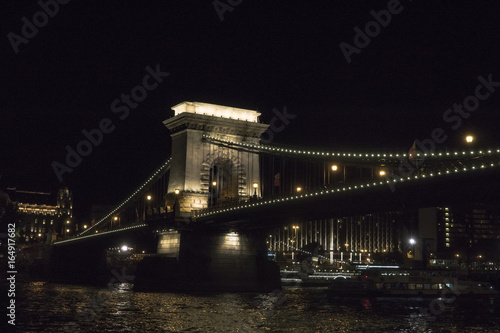 The Chain bridge (Szechenyi lanchid) at night Budapest, one of the most popular panoramic view in the capital of Hungary, Europe