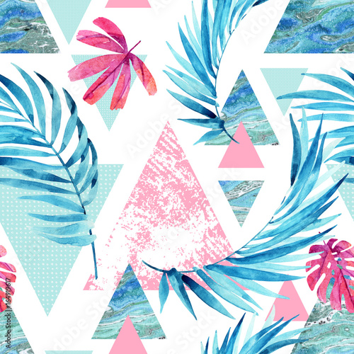Abstract watercolor triangle and exotic leaves seamless pattern. - 164919617