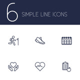 Set Of 6 Bodybuilding Outline Icons Set.Collection Of Training, Diet, Health Care And Other Elements.