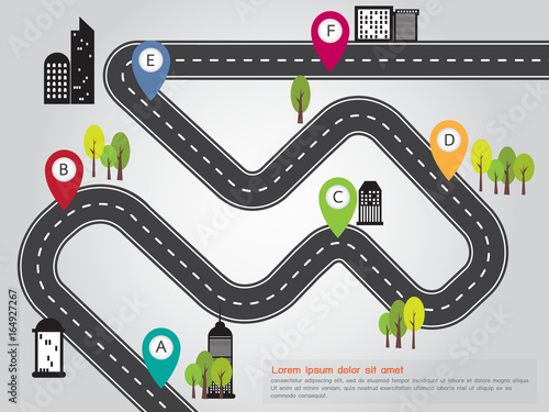 City Location Road Map Info Graphic