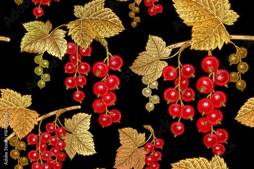 Seamless pattern with red currant.