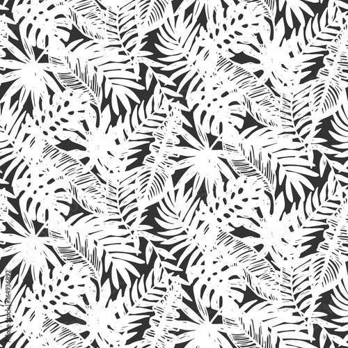 Materiał do szycia Tropical leaves seamless pattern