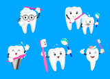 Set of cute cartoon tooth holding toothbrush. Dental care concept. Illustration isolated on blue background. - 164946010