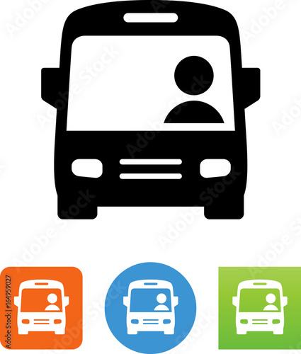 Fototapeta City Bus With Driver Icon - Illustration