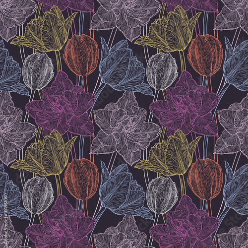 Fototapeta Hand drawn vector illustration Seamless pattern with decorative doodle tulips hand drawn in lines. Vector illustration