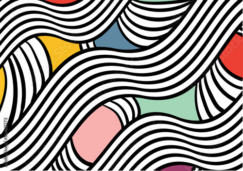 Color abstract pattern with wavy lines