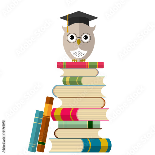 Cute owl in eyeglasses and graduation cap on books. Education and back to school concept background