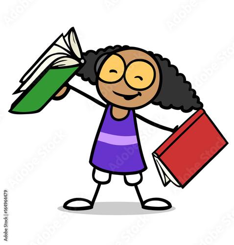 Afrikanisches Mädchen hält Bücher zum Lesen