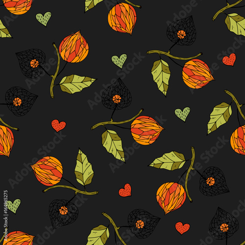 Seamless autumn vector pattern with physalis. - 164965275
