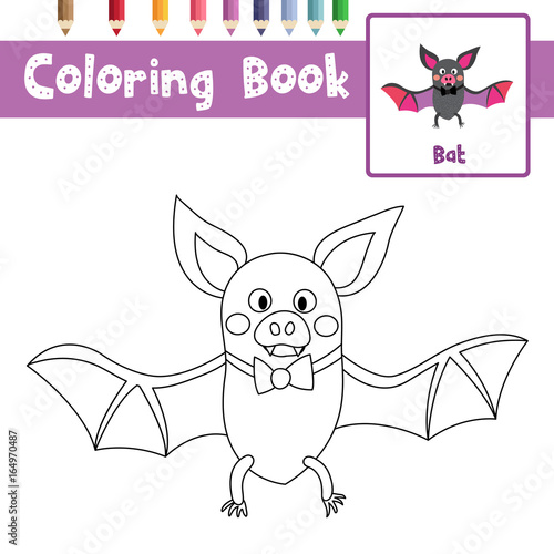 Coloring page of Bat with bow animals for preschool kids activity educational worksheet. Vector Illustration.
